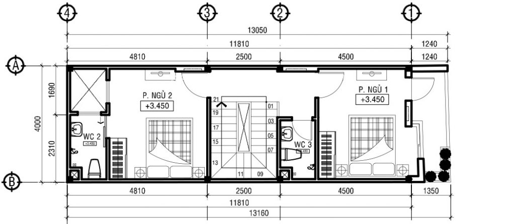 mẫu nhà ống đẹp 3 tầng 4m